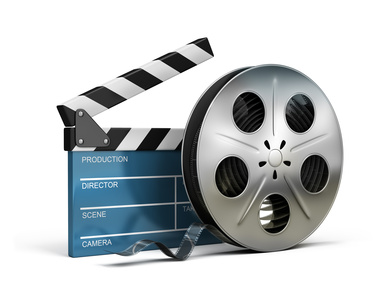 cinema clapper and film tape